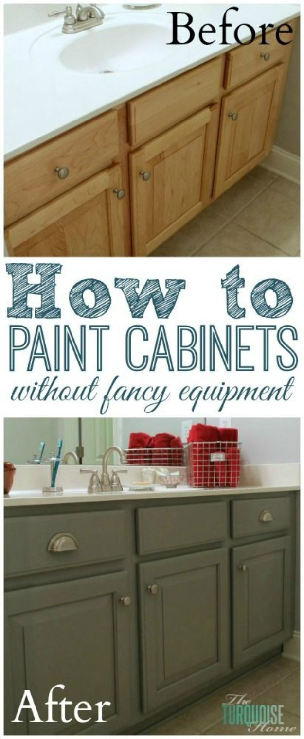 DIY Painting Hacks - Paint Cabinets Without Fancy Equipment - Easy Ways To Shortcut House Painting - Wall Prep, Painters Tape, Trim, Edging, Ceiling, Exterior Cutting In, Furniture and Crafts Paint Tips - Paint Your House Or Your Room With These Time Saving Painter Hacks and Quick Tricks http://diyjoy.com/diy-painting-hacks