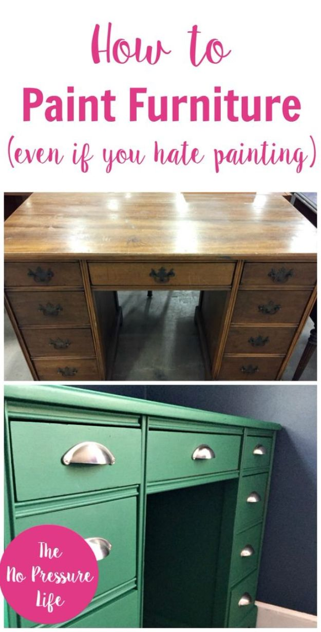 DIY Painting Hacks - Paint Furniture Easily - Easy Ways To Shortcut House Painting - Wall Prep, Painters Tape, Trim, Edging, Ceiling, Exterior Cutting In, Furniture and Crafts Paint Tips - Paint Your House Or Your Room With These Time Saving Painter Hacks and Quick Tricks http://diyjoy.com/diy-painting-hacks