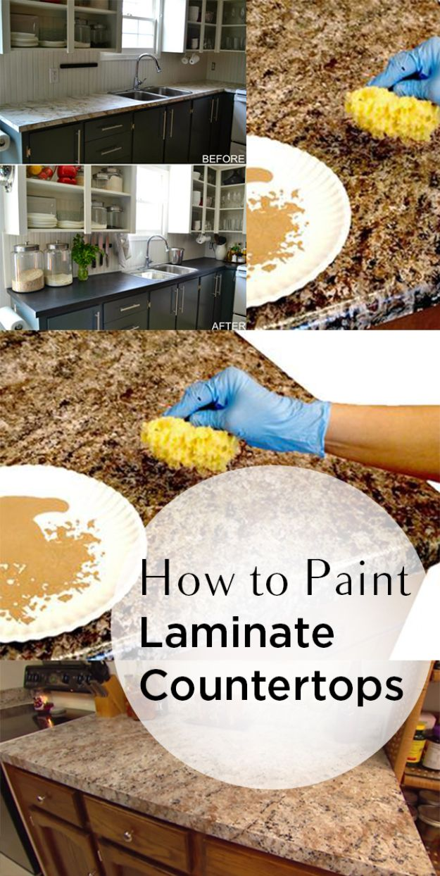 DIY Painting Hacks - Paint Laminate Countertops - Easy Ways To Shortcut House Painting - Wall Prep, Painters Tape, Trim, Edging, Ceiling, Exterior Cutting In, Furniture and Crafts Paint Tips - Paint Your House Or Your Room With These Time Saving Painter Hacks and Quick Tricks http://diyjoy.com/diy-painting-hacks