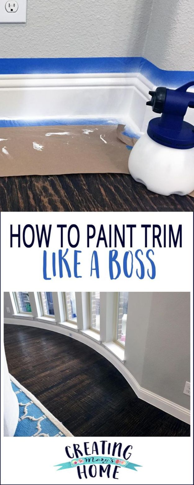 DIY Painting Hacks - Paint Trim Like A Boss - Easy Ways To Shortcut House Painting - Wall Prep, Painters Tape, Trim, Edging, Ceiling, Exterior Cutting In, Furniture and Crafts Paint Tips - Paint Your House Or Your Room With These Time Saving Painter Hacks and Quick Tricks http://diyjoy.com/diy-painting-hacks