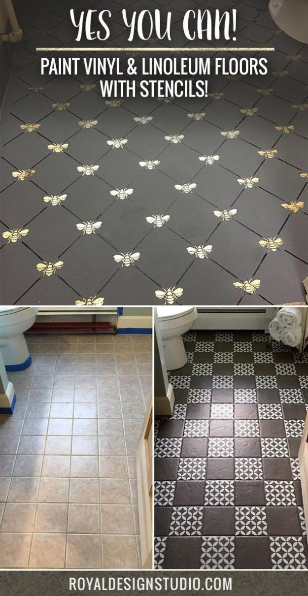 DIY Flooring Projects - Paint Vinyl & Linoleum Floor With Stencils - Cheap Floor Ideas for Those On A Budget - Inexpensive Ways To Refinish Floors With Concrete, Laminate, Plywood, Peel and Stick Tile, Wood, Vinyl - Easy Project Plans and Unique Creative Tutorials for Cool Do It Yourself Home Decor #diy #flooring #homeimprovement