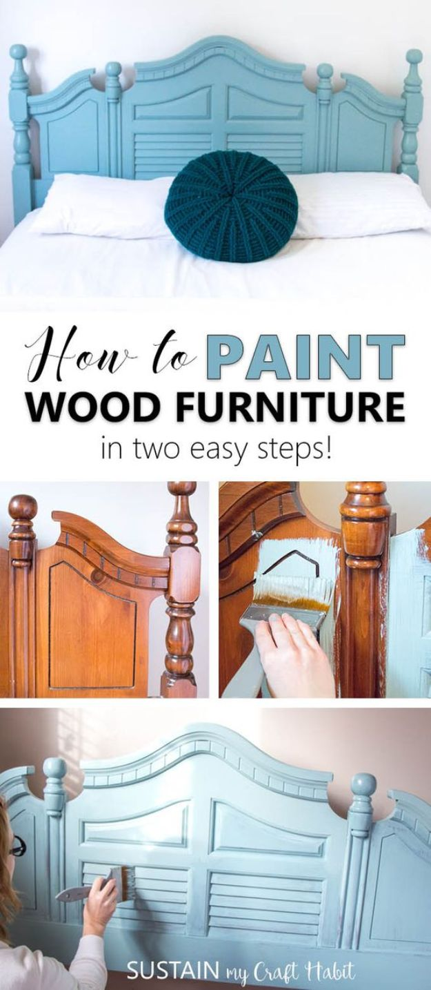 DIY Painting Hacks - Paint Wood Furniture - Easy Ways To Shortcut House Painting - Wall Prep, Painters Tape, Trim, Edging, Ceiling, Exterior Cutting In, Furniture and Crafts Paint Tips - Paint Your House Or Your Room With These Time Saving Painter Hacks and Quick Tricks http://diyjoy.com/diy-painting-hacks
