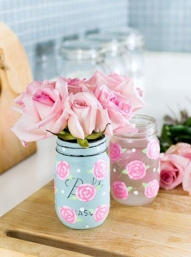Rose Crafts - Painted Rose Mason Jars - Easy Craft Projects With Roses - Paper Flowers, Quilt Patterns, DIY Rose Art for Kids - Dried and Real Roses for Wall Art and Do It Yourself Home Decor - Mothers Day Gift Ideas - Fake Rose Arrangements That Look Amazing - Cute Centerrpieces and Crafty DIY Gifts With A Rose http://diyjoy.com/rose-crafts