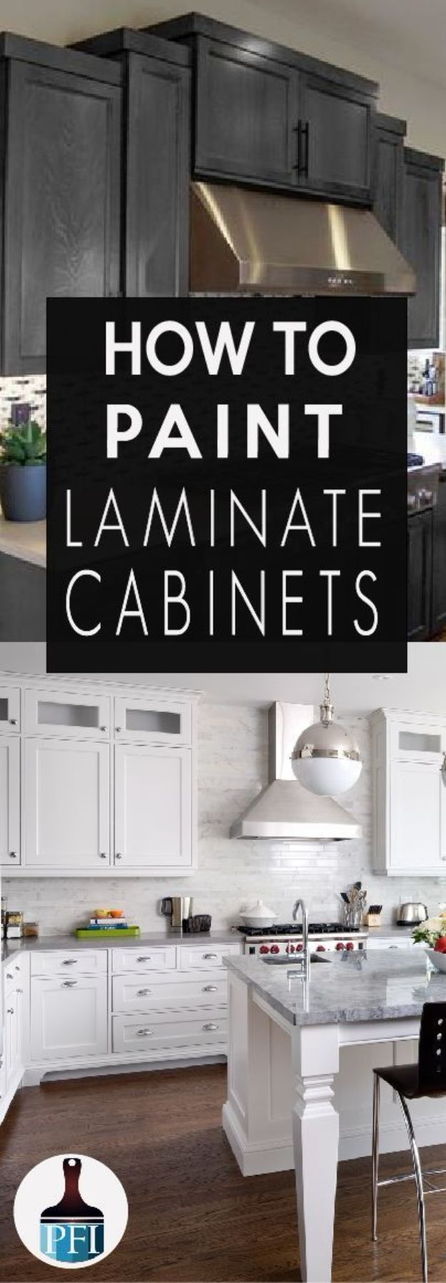 DIY Painting Hacks - Painting Laminate Cabinets - Easy Ways To Shortcut House Painting - Wall Prep, Painters Tape, Trim, Edging, Ceiling, Exterior Cutting In, Furniture and Crafts Paint Tips - Paint Your House Or Your Room With These Time Saving Painter Hacks and Quick Tricks http://diyjoy.com/diy-painting-hacks