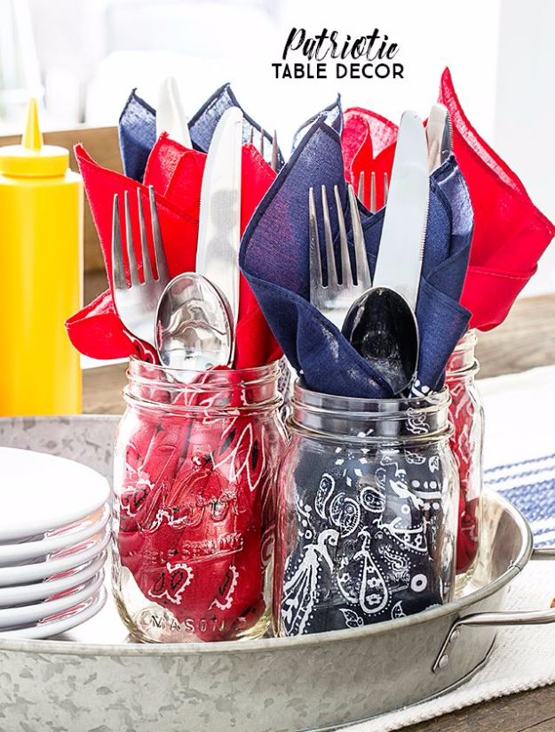 DIY Ideas With Bandanas - Patriotic Table Decor - Bandana Crafts and Decor Projects Made With A Bandana - No Sew Ideas, Bags, Bracelets, Hats, Halter Tops, Blankets and Quilts, Headbands, Simple Craft Project Tutorials for Kids and Teens - Home Decoration and Country Themed Crafts To Make and Sell On Etsy http://diyjoy.com/diy-ideas-bandanas