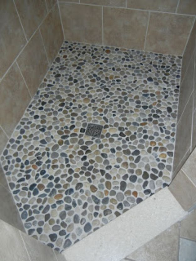 DIY Flooring Projects - Pebble Shower Floor - Cheap Floor Ideas for Those On A Budget - Inexpensive Ways To Refinish Floors With Concrete, Laminate, Plywood, Peel and Stick Tile, Wood, Vinyl - Easy Project Plans and Unique Creative Tutorials for Cool Do It Yourself Home Decor http://diyjoy.com/diy-flooring-projects