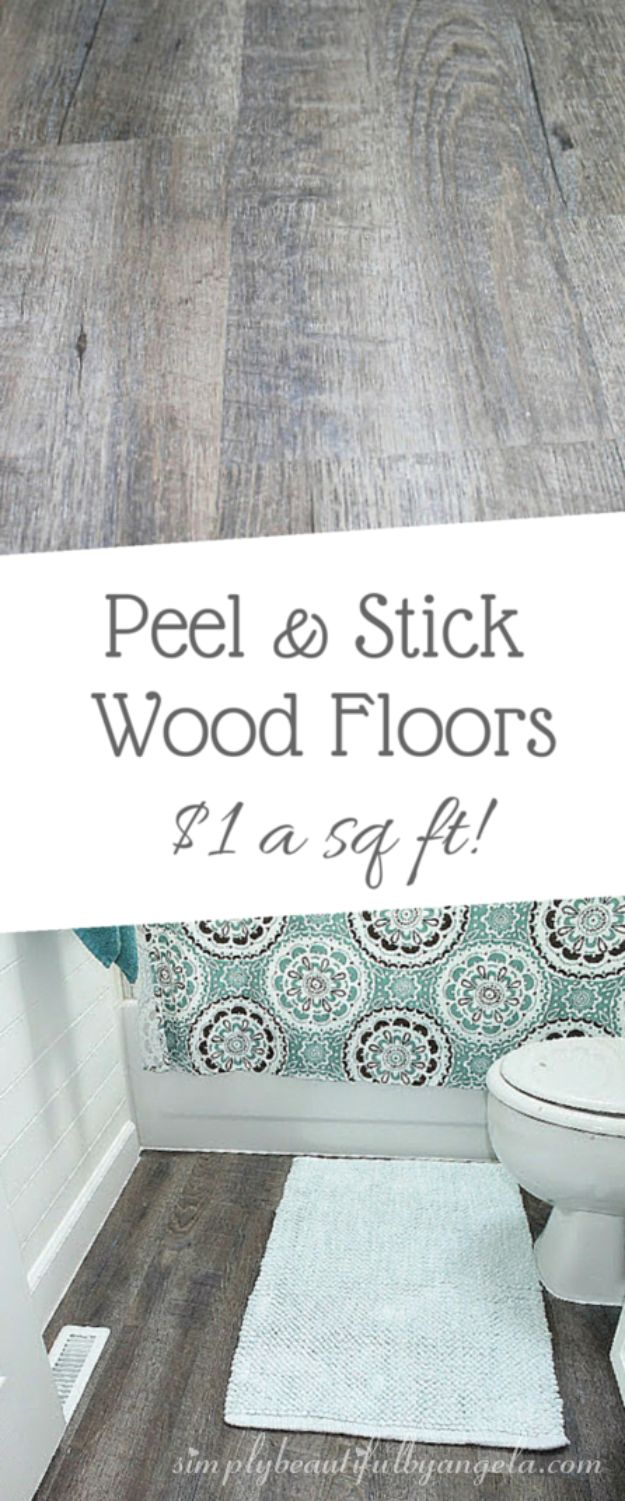 DIY Flooring Projects - Peel And Stick Wood Look Vinyl Flooring - Cheap Floor Ideas for Those On A Budget - Inexpensive Ways To Refinish Floors With Concrete, Laminate, Plywood, Peel and Stick Tile, Wood, Vinyl - Easy Project Plans and Unique Creative Tutorials for Cool Do It Yourself Home Decor #diy #flooring #homeimprovement