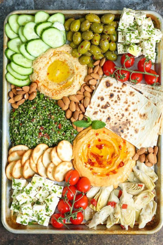 Best Dinner Party Ideas - Perfect Easy Mezze Platter - Best Recipes for Foods to Serve, Casseroles, Finger Foods, Desserts and Appetizers- Place Settings and Cards, Centerpieces, Table Decor and Recipe Ideas for Supper Clubs and Dinner Parties http://diyjoy.com/best-dinner-party-ideas