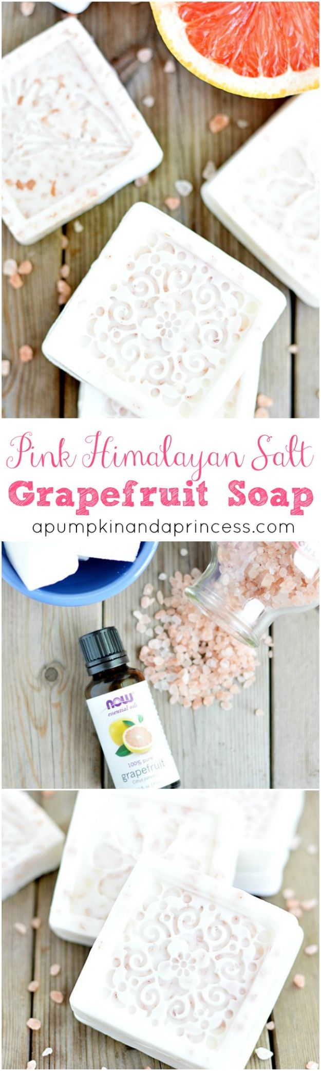 DIY Soap Recipes - Pink Himalayan Salt Grapefruit Soap - Melt and Pour, Homemade Recipe Without Lye - Natural Soap crafts for Kids - Shea Butter, Essential Oils, Easy Ides With 3 Ingredients - soap recipes with step by step tutorials #soap #diygifts