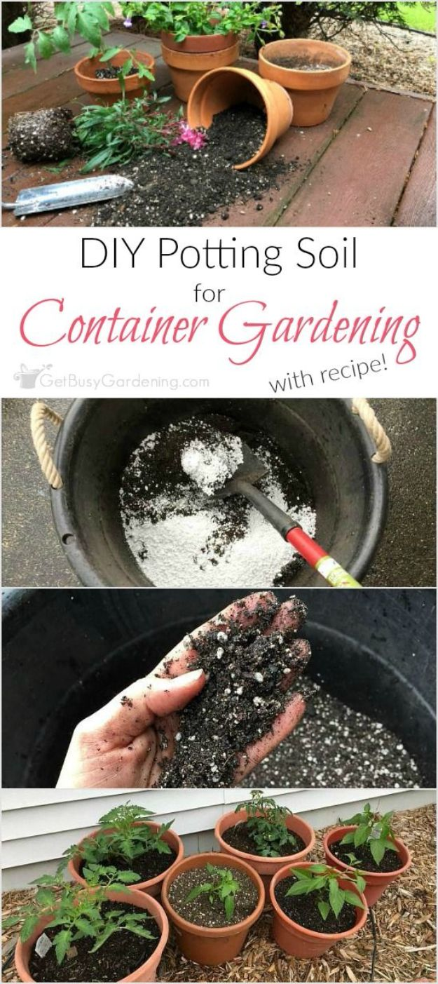 Container Gardening Ideas - Potting Soil For Container Gardening - Easy Garden Projects for Containers and Growing Plants in Small Spaces - DIY Potting Tips and Planter Boxes for Vegetables, Herbs and Flowers - Simple Ideas for Beginners -Shade, Full Sun, Pation and Yard Landscape Idea tutorials http://diyjoy.com/container-gardening-ideas