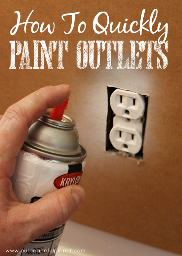 DIY Painting Hacks - Quickly Paint Outlets - Easy Ways To Shortcut House Painting - Wall Prep, Painters Tape, Trim, Edging, Ceiling, Exterior Cutting In, Furniture and Crafts Paint Tips - Paint Your House Or Your Room With These Time Saving Painter Hacks and Quick Tricks http://diyjoy.com/diy-painting-hacks
