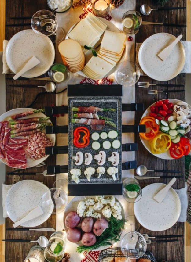 Best Dinner Party Ideas - Raclette Dinner Party - Best Recipes for Foods to Serve, Casseroles, Finger Foods, Desserts and Appetizers- Place Settings and Cards, Centerpieces, Table Decor and Recipe Ideas for Supper Clubs and Dinner Parties http://diyjoy.com/best-dinner-party-ideas