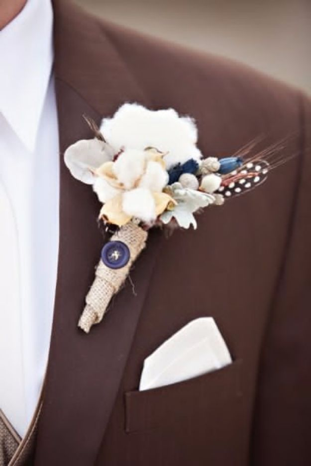 DIY Flowers for Weddings - Raw Cotton Boutonniere - Centerpieces, Bouquets, Arrangements for Wedding Ceremony - Aisle Ideas, Rustic Bouquet Projects - Paper, Cheap, Fake Floral, Silk Flower Centerpiece To Make For Brides on A Budget - Decor for Spring, Summer, Winter and Fall http://diyjoy.com/diy-flowers-for-weddings