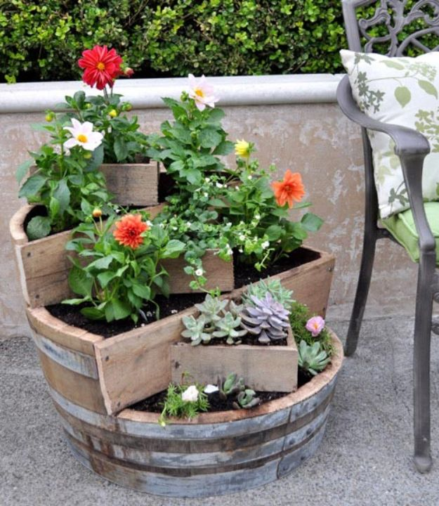 Container Gardening Ideas - Recycled Barrel Planter - Easy Garden Projects for Containers and Growing Plants in Small Spaces - DIY Potting Tips and Planter Boxes for Vegetables, Herbs and Flowers - Simple Ideas for Beginners -Shade, Full Sun, Pation and Yard Landscape Idea tutorials http://diyjoy.com/container-gardening-ideas