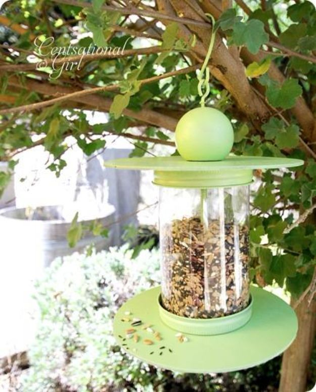 DIY Bird Feeders - Recycled Bottle Birdfeeder - Easy Do It Yourself Homemade Bird Feeder Ideas from Mason Jar, Wooden, Wine Bottle, Milk Jug, Plastic, Dollar Store Supplies - Squirrel Proof, Unique and Creative Tutorials That Make Cool DIY Gifts #diyideas #birds