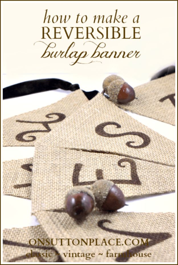 DIY Burlap Ideas - Reversible Burlap Banner - Burlap Furniture, Home Decor and Crafts - Banners and Buntings, Wall Art, Ottoman from Coffee Sacks, Wreath, Centerpieces and Table Runner - Kitchen, Bedroom, Living Room, Bathroom Ideas - Shabby Chic Craft Projects and DIY Wedding Decor http://diyjoy.com/diy-burlap-decor-ideas