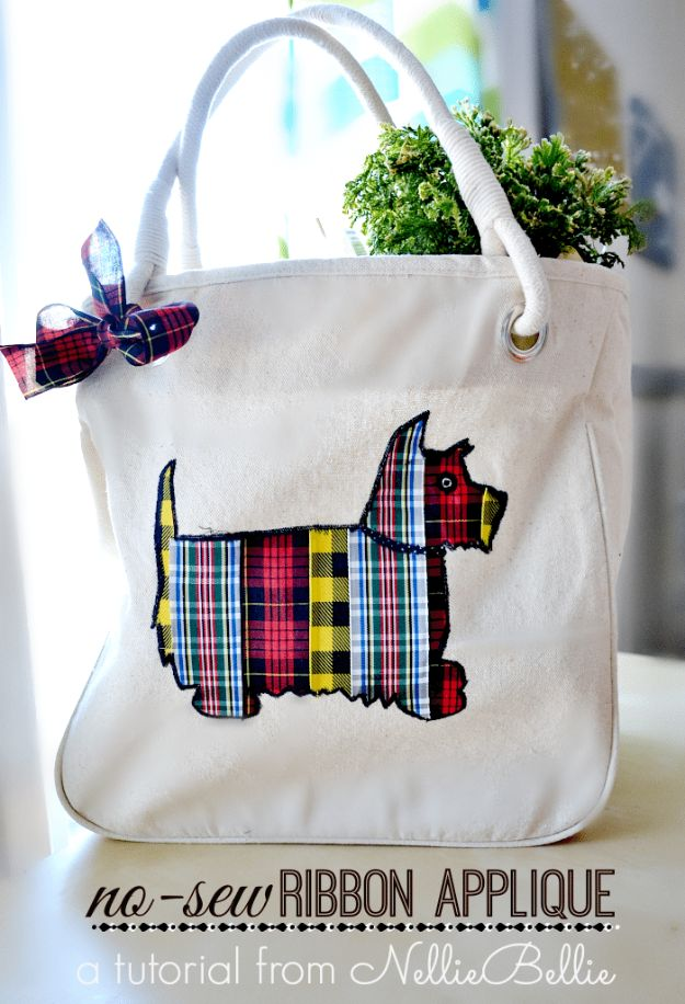 DIY Ideas With Dogs - Ribbon Tote Bag - Cute and Easy DIY Projects for Dog Lovers - Wall and Home Decor Projects, Things To Make and Sell on Etsy - Quick Gifts to Make for Friends Who Have Puppies and Doggies - Homemade No Sew Projects- Fun Jewelry, Cool Clothes and Accessories http://diyjoy.com/diy-ideas-dogs