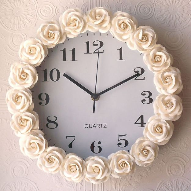 Rose Crafts - Rose Inspired Clock - Easy Craft Projects With Roses - Paper Flowers, Quilt Patterns, DIY Rose Art for Kids - Dried and Real Roses for Wall Art and Do It Yourself Home Decor - Mothers Day Gift Ideas - Fake Rose Arrangements That Look Amazing - Cute Centerrpieces and Crafty DIY Gifts With A Rose http://diyjoy.com/rose-crafts