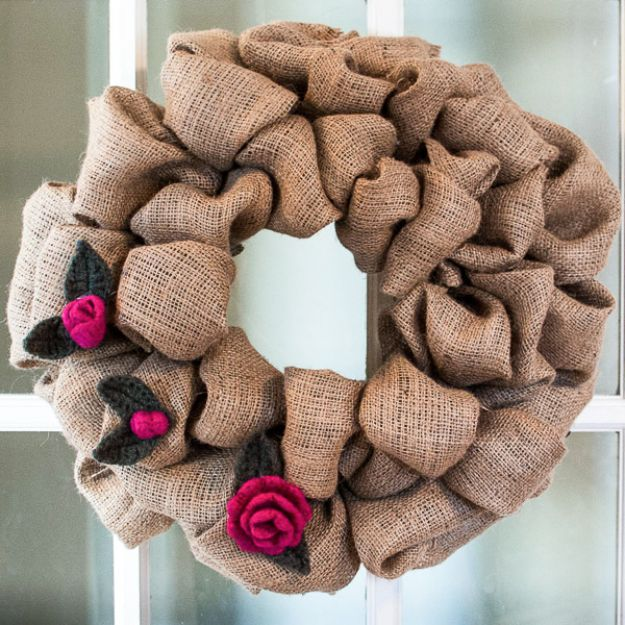 DIY Burlap Ideas - Rosebud and Leaf Pattern to Embellish a Burlap Wreath - Burlap Furniture, Home Decor and Crafts - Banners and Buntings, Wall Art, Ottoman from Coffee Sacks, Wreath, Centerpieces and Table Runner - Kitchen, Bedroom, Living Room, Bathroom Ideas - Shabby Chic Craft Projects and DIY Wedding Decor http://diyjoy.com/diy-burlap-decor-ideas