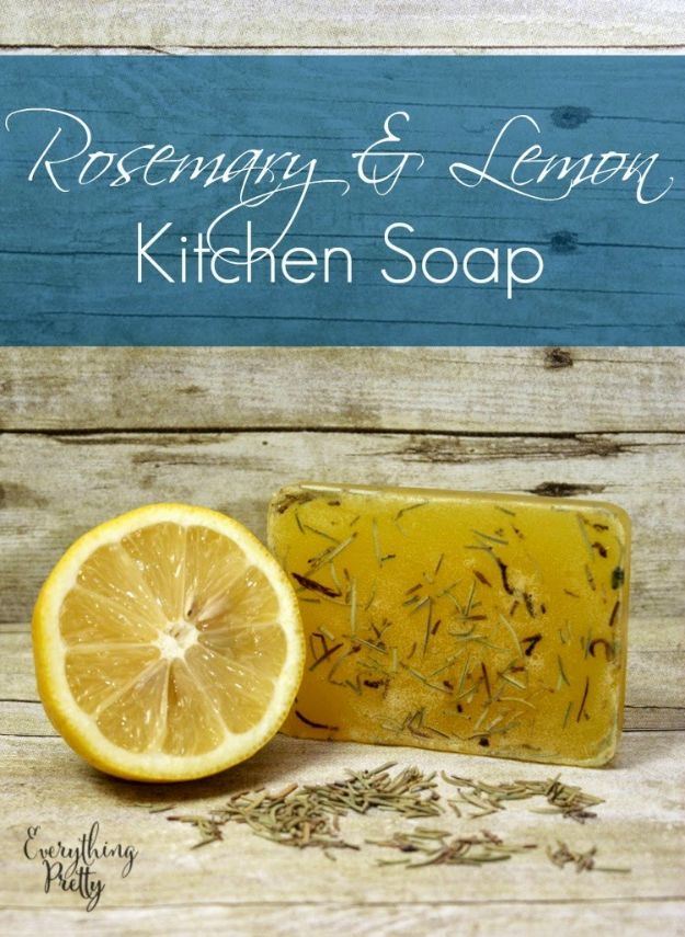 DIY Soap Recipes - Rosemary Lemon Kitchen Soap - Melt and Pour, Homemade Recipe Without Lye - Natural Soap crafts for Kids - Shea Butter, Essential Oils, Easy Ides With 3 Ingredients - soap recipes with step by step tutorials #soap #diygifts