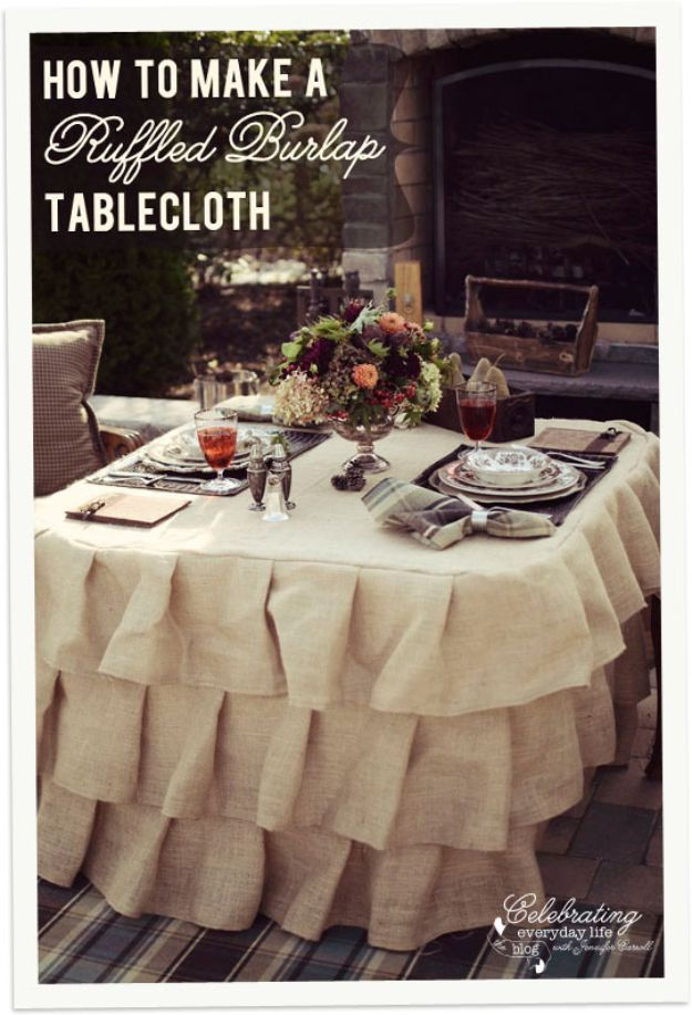 DIY Burlap Ideas - Ruffled Burlap Table Cloth - Burlap Furniture, Home Decor and Crafts - Banners and Buntings, Wall Art, Ottoman from Coffee Sacks, Wreath, Centerpieces and Table Runner - Kitchen, Bedroom, Living Room, Bathroom Ideas - Shabby Chic Craft Projects and DIY Wedding Decor http://diyjoy.com/diy-burlap-decor-ideas
