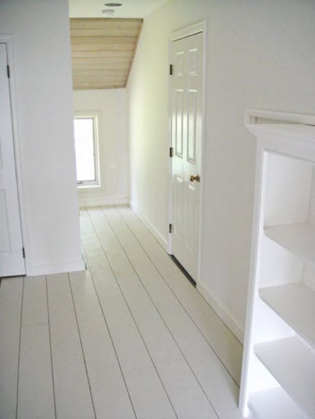 DIY Flooring Projects - Rustic White Painted Floors - Cheap Floor Ideas for Those On A Budget - Inexpensive Ways To Refinish Floors With Concrete, Laminate, Plywood, Peel and Stick Tile, Wood, Vinyl - Easy Project Plans and Unique Creative Tutorials for Cool Do It Yourself Home Decor #diy #flooring #homeimprovement