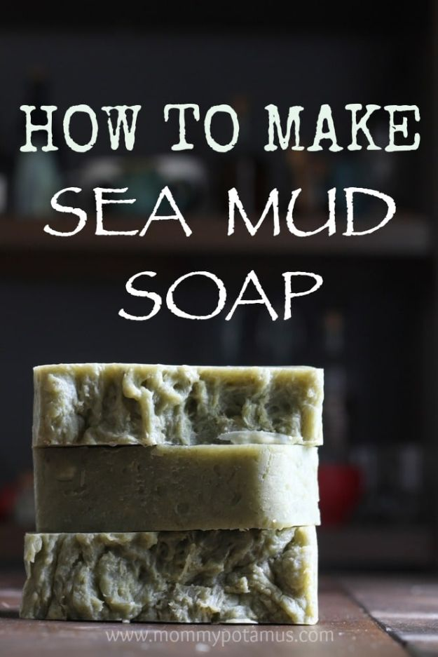 DIY Soap Recipes - Sea Mud Soap - Melt and Pour, Homemade Recipe Without Lye - Natural Soap crafts for Kids - Shea Butter, Essential Oils, Easy Ides With 3 Ingredients - soap recipes with step by step tutorials #soap #diygifts