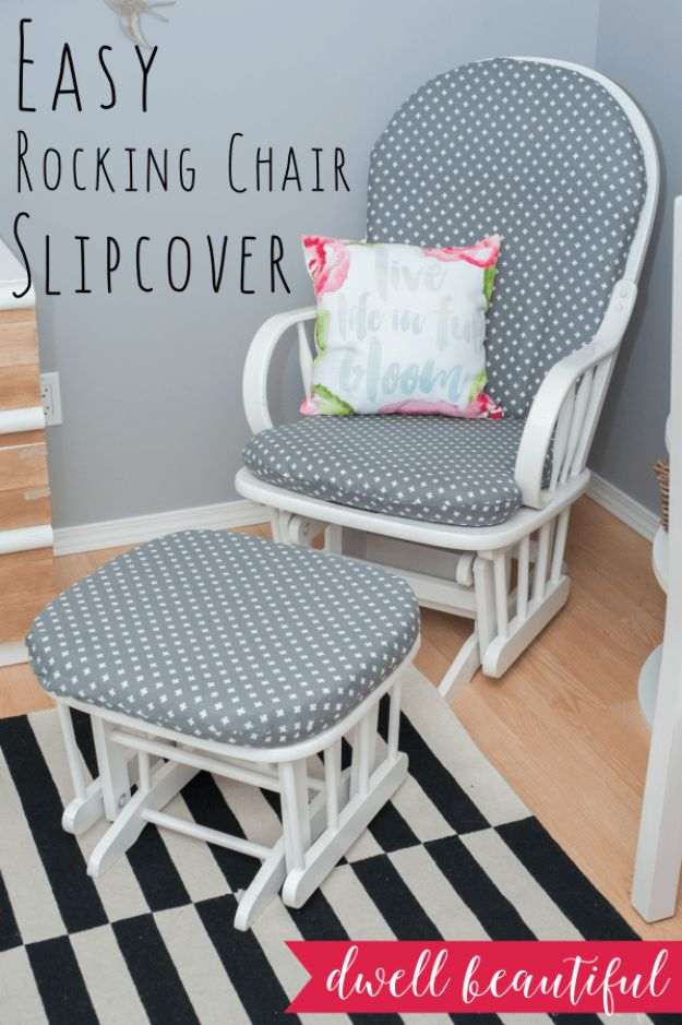 DIY Slipcovers - Sew A Rocking Chair Slipcover - Do It Yourself Slip Covers For Furniture - No Sew Ideas, Easy Fabrics Four Couch and Sofa Cover - Chair Projects and Ideas, How To Make a Slip cover with step by step tutorial and instructions - Cool DIY Home and Living Room Decor #slipcovers #diydecor