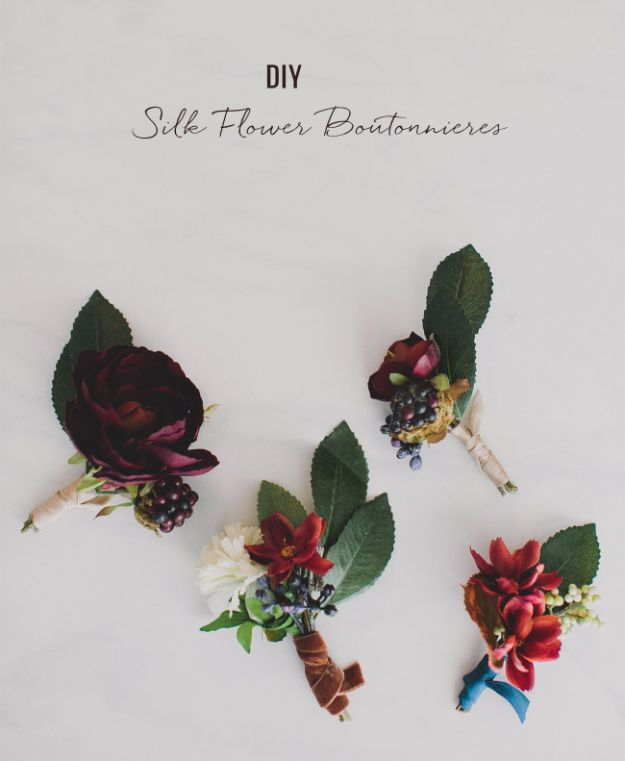 DIY Flowers for Weddings - Silk Flower Boutonnieres - Centerpieces, Bouquets, Arrangements for Wedding Ceremony - Aisle Ideas, Rustic Bouquet Projects - Paper, Cheap, Fake Floral, Silk Flower Centerpiece To Make For Brides on A Budget - Decor for Spring, Summer, Winter and Fall http://diyjoy.com/diy-flowers-for-weddings