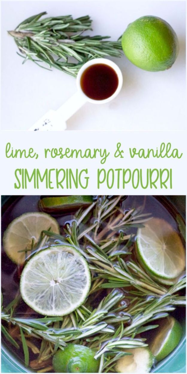 DIY Home Fragrance Ideas - Simmering Lime, Rosemary And Vanilla Air Freshener - Easy Ways To Make your House and Home Smell Good - Essential Oils, Diffusers, DIY Lampe Berger Oil, Candles, Room Scents and Homemade Recipes for Odor Removal - Relaxing Lavender, Fresh Clean Smells, Lemon, Herb http://diyjoy.com/diy-home-fragrance-ideas
