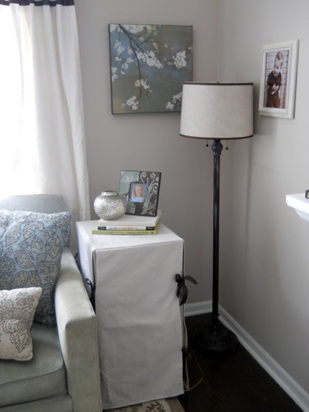 DIY Slipcovers - Slip Covered Filing Cabinet - Do It Yourself Slip Covers For Furniture - No Sew Ideas, Easy Fabrics Four Couch and Sofa Cover - Chair Projects and Ideas, How To Make a Slip cover with step by step tutorial and instructions - Cool DIY Home and Living Room Decor #slipcovers #diydecor