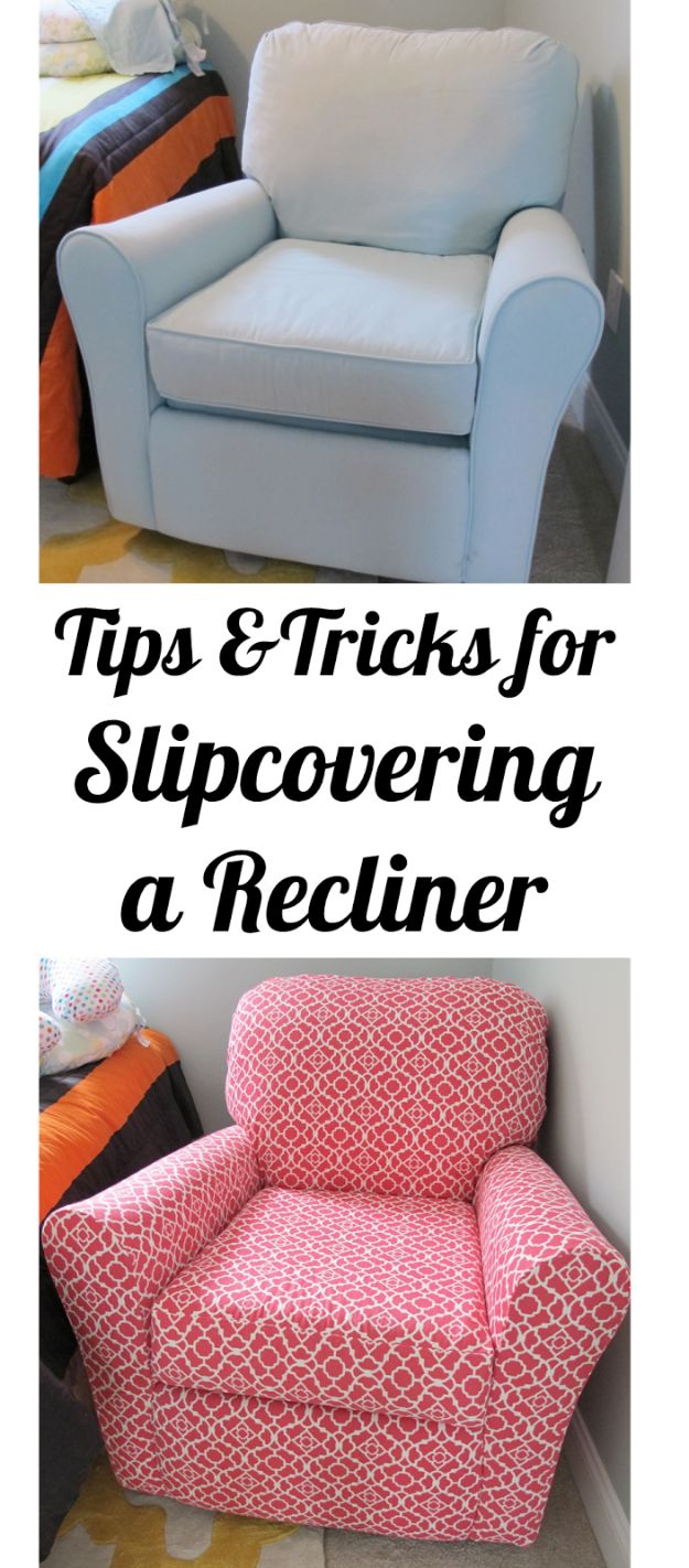 DIY Slipcovers - Slipcovering a Recliner - Do It Yourself Slip Covers For Furniture - No Sew Ideas, Easy Fabrics Four Couch and Sofa Cover - Chair Projects and Ideas, How To Make a Slip cover with step by step tutorial and instructions - Cool DIY Home and Living Room Decor #slipcovers #diydecor