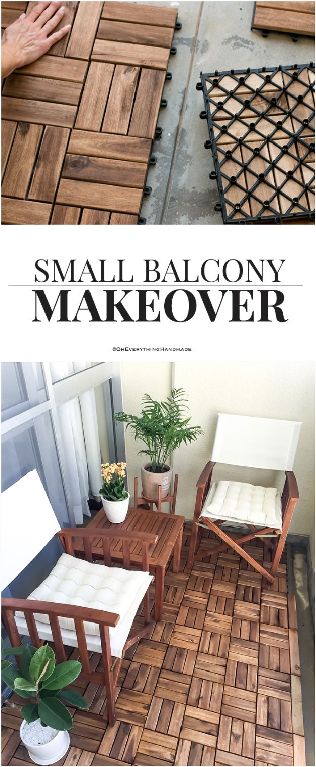 DIY Flooring Projects - Small Balcony Makeover - Cheap Floor Ideas for Those On A Budget - Inexpensive Ways To Refinish Floors With Concrete, Laminate, Plywood, Peel and Stick Tile, Wood, Vinyl - Easy Project Plans and Unique Creative Tutorials for Cool Do It Yourself Home Decor #diy #flooring #homeimprovement