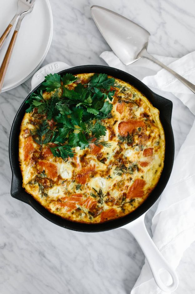 Best Brunch Recipes - Smoked Salmon Frittata - Eggs, Pancakes, Waffles, Casseroles, Vegetable Dishes and Side, Potato Recipe Ideas for Brunches - Serve A Crowd and Family with the versions of Eggs Benedict, Mimosas, Muffins and Pastries, Desserts - Make Ahead , Slow Cooler and Healthy Casserole Recipes #brunch #breakfast #recipes