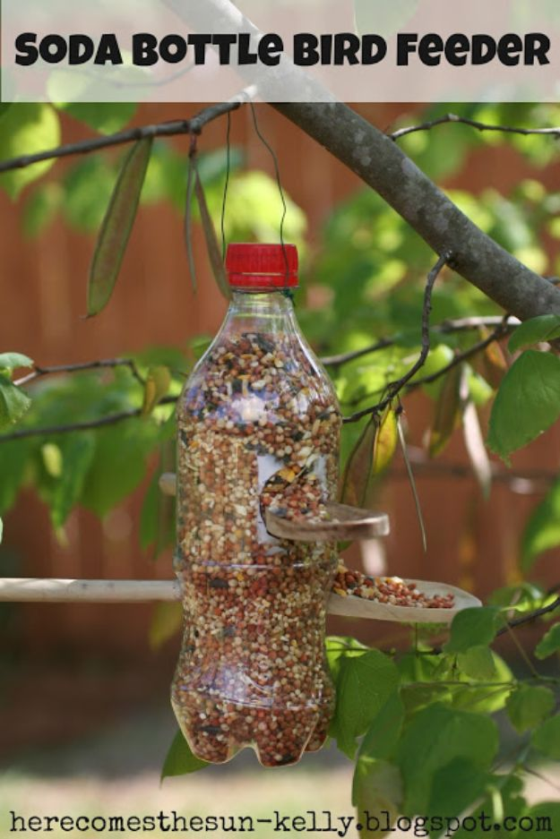 DIY Bird Feeders - Soda Bottle Bird Feeder - Easy Do It Yourself Homemade Bird Feeder Ideas from Mason Jar, Wooden, Wine Bottle, Milk Jug, Plastic, Dollar Store Supplies - Squirrel Proof, Unique and Creative Tutorials That Make Cool DIY Gifts #diyideas #birds