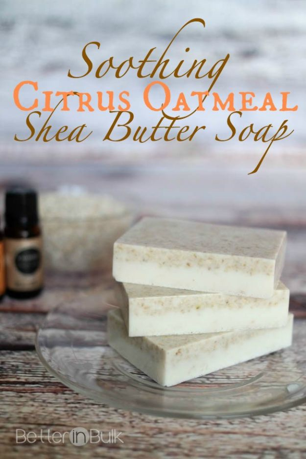 DIY Soap Recipes - Soothing Citrus Oatmeal Shea Butter Soap - Melt and Pour, Homemade Recipe Without Lye - Natural Soap crafts for Kids - Shea Butter, Essential Oils, Easy Ides With 3 Ingredients - Pretty and Creative Soap Tutorials With Step by Step Instructions for Handmade Soap Making - Cool Stuff To Make and Sell On Etsy http://diyjoy.com/diy-soap-recipes