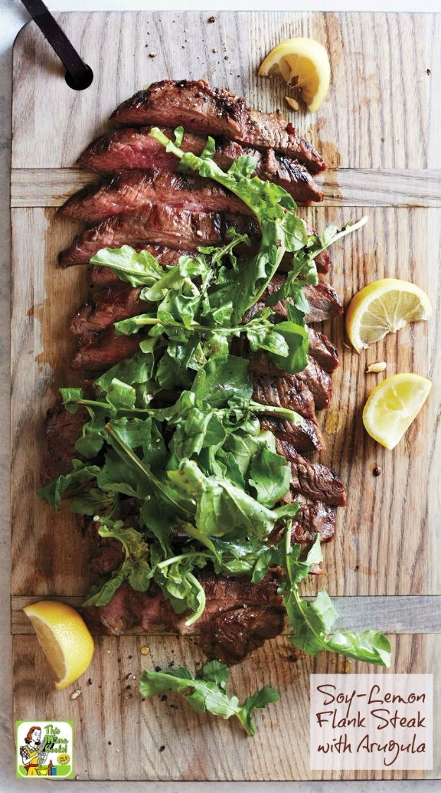 Best Dinner Party Ideas - Soy-Lemon Flank Steak with Arugula - Best Recipes for Foods to Serve, Casseroles, Finger Foods, Desserts and Appetizers- Place Settings and Cards, Centerpieces, Table Decor and Recipe Ideas for Supper Clubs and Dinner Parties http://diyjoy.com/best-dinner-party-ideas