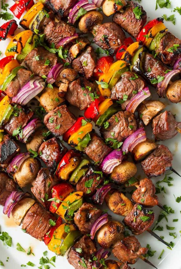 Best Barbecue Recipes - Steak Kebabs - Easy BBQ Recipe Ideas for Lunch, Dinner and Quick Party Appetizers - Grilled and Smoked Foods, Chicken, Beef and Meat, Fish and Vegetable Ideas for Grilling - Sauces and Rubs, Seasonings and Favorite Bar BBQ Tips #bbq #bbqrecipes #grilling