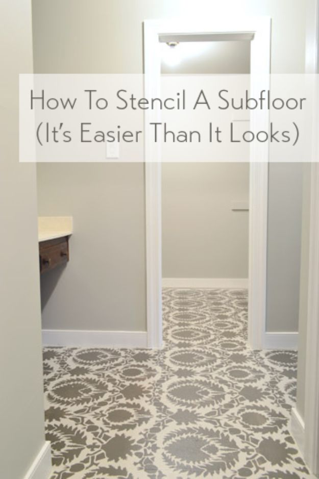 DIY Flooring Projects - Stencil A Subfloor - Cheap Floor Ideas for Those On A Budget - Inexpensive Ways To Refinish Floors With Concrete, Laminate, Plywood, Peel and Stick Tile, Wood, Vinyl - Easy Project Plans and Unique Creative Tutorials for Cool Do It Yourself Home Decor #diy #flooring #homeimprovement