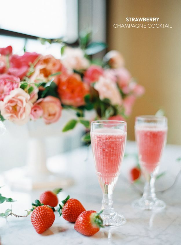 Best Dinner Party Ideas - Strawberry Champagne Cocktails - Best Recipes for Foods to Serve, Casseroles, Finger Foods, Desserts and Appetizers- Place Settings and Cards, Centerpieces, Table Decor and Recipe Ideas for Supper Clubs and Dinner Parties http://diyjoy.com/best-dinner-party-ideas