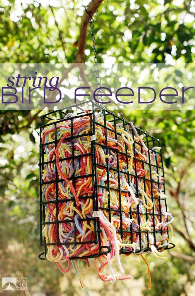DIY Bird Feeders - String Bird Feeder - Easy Do It Yourself Homemade Bird Feeder Ideas from Mason Jar, Wooden, Wine Bottle, Milk Jug, Plastic, Dollar Store Supplies - Squirrel Proof, Unique and Creative Tutorials That Make Cool DIY Gifts #diyideas #birds