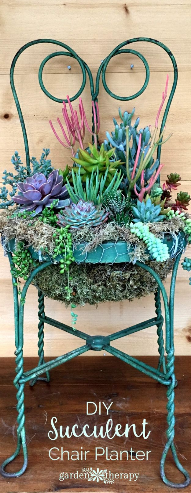 Container Gardening Ideas - Succulent Chair Planter - Easy Garden Projects for Containers and Growing Plants in Small Spaces - DIY Potting Tips and Planter Boxes for Vegetables, Herbs and Flowers - Simple Ideas for Beginners -Shade, Full Sun, Pation and Yard Landscape Idea tutorials http://diyjoy.com/container-gardening-ideas