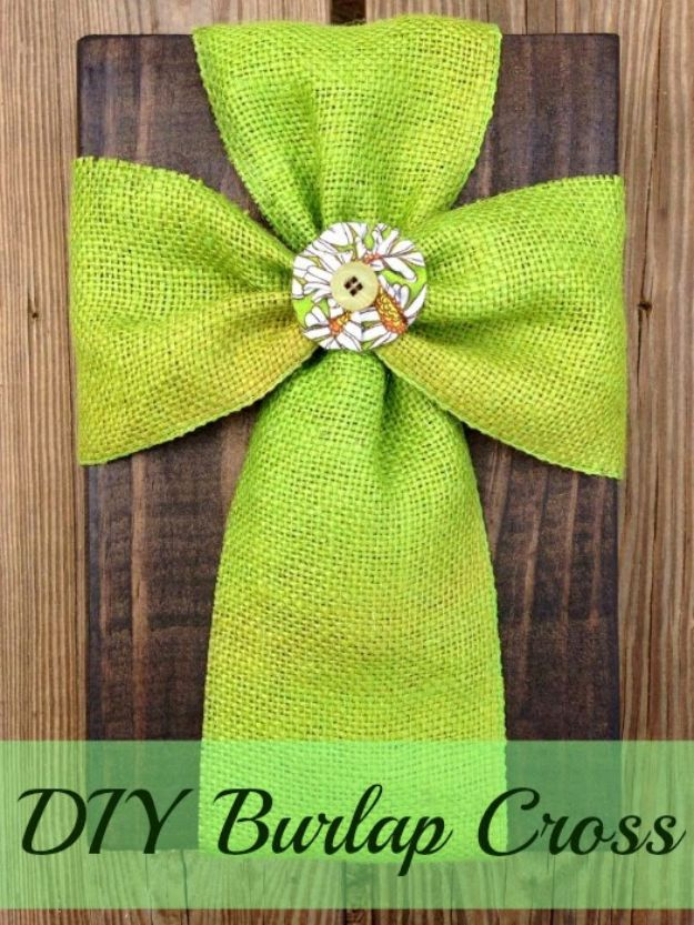 DIY Burlap Ideas - Super Easy DIY Burlap Cross - Burlap Furniture, Home Decor and Crafts - Banners and Buntings, Wall Art, Ottoman from Coffee Sacks, Wreath, Centerpieces and Table Runner - Kitchen, Bedroom, Living Room, Bathroom Ideas - Shabby Chic Craft Projects and DIY Wedding Decor http://diyjoy.com/diy-burlap-decor-ideas