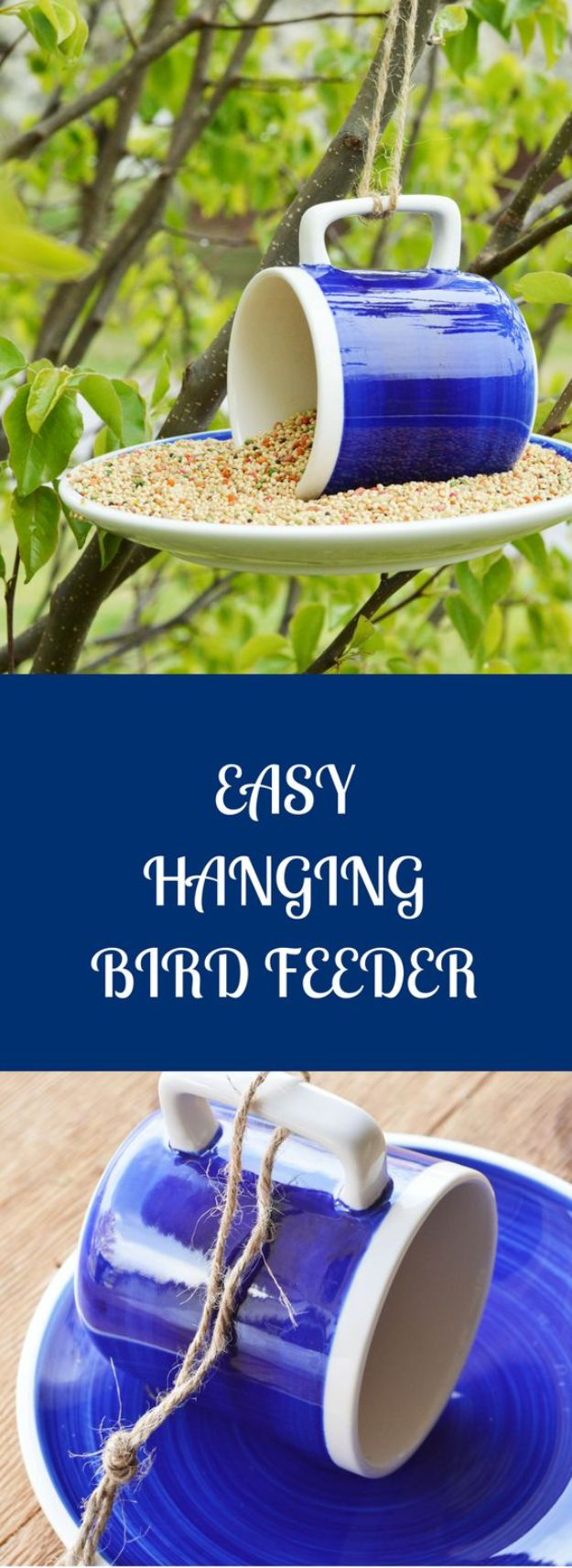 DIY Bird Feeders - Super Easy Hanging Bird Feeder - Easy Do It Yourself Homemade Bird Feeder Ideas from Mason Jar, Wooden, Wine Bottle, Milk Jug, Plastic, Dollar Store Supplies - Squirrel Proof, Unique and Creative Tutorials That Make Cool DIY Gifts #diyideas #birds