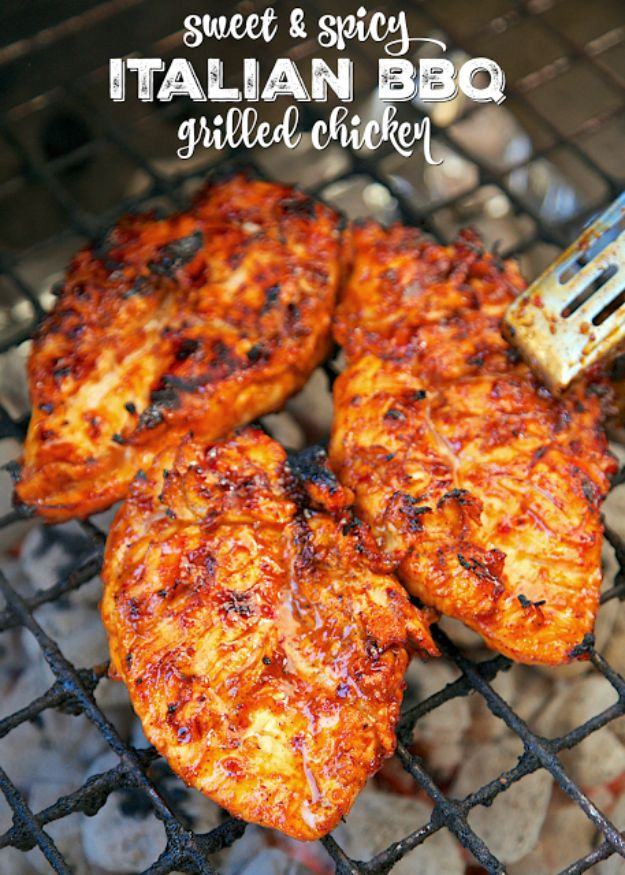 Best Barbecue Recipes - Sweet And Spicy Italian BBQ Grilled Chicken - Easy BBQ Recipe Ideas for Lunch, Dinner and Quick Party Appetizers - Grilled and Smoked Foods, Chicken, Beef and Meat, Fish and Vegetable Ideas for Grilling - Sauces and Rubs, Seasonings and Favorite Bar BBQ Tips #bbq #bbqrecipes #grilling
