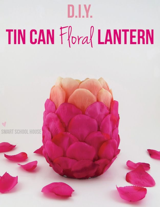 Rose Crafts - Tin Can Floral Lantern - Easy Craft Projects With Roses - Paper Flowers, Quilt Patterns, DIY Rose Art for Kids - Dried and Real Roses for Wall Art and Do It Yourself Home Decor - Mothers Day Gift Ideas - Fake Rose Arrangements That Look Amazing - Cute Centerrpieces and Crafty DIY Gifts With A Rose http://diyjoy.com/rose-crafts