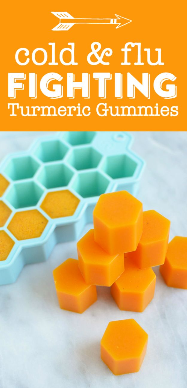 DIY Home Remedies - Turmeric Gummies - Homemade Recipes and Ideas for Help Relieve Symptoms of Cold and Flu, Upset Stomach, Rash, Cough, Sore Throat, Headache and Illness - Skincare Products, Balms, Lotions and Teas - Homeopathic Solutions and Remedy for Common Sickness http://diyjoy.com/diy-home-remedies