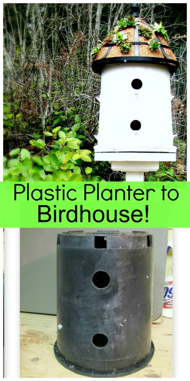 DIY Bird Houses - Upcycled Plastic Planter Into A Birdhouse - Easy Bird House Ideas for Kids and Adult To Make - Free Plans and Tutorials for Wooden, Simple, Upcyle Designs, Recycle Plastic and Creative Ways To Make Rustic Outdoor Decor and a Home for the Birds - Fun Projects for Your Backyard This Summer http://diyjoy.com/diy-bird-houses