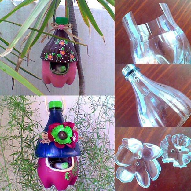 DIY Bird Houses - Upcycled Soda Bottle Birdhouse - Easy Bird House Ideas for Kids and Adult To Make - Free Plans and Tutorials for Wooden, Simple, Upcyle Designs, Recycle Plastic and Creative Ways To Make Rustic Outdoor Decor and a Home for the Birds - Fun Projects for Your Backyard This Summer