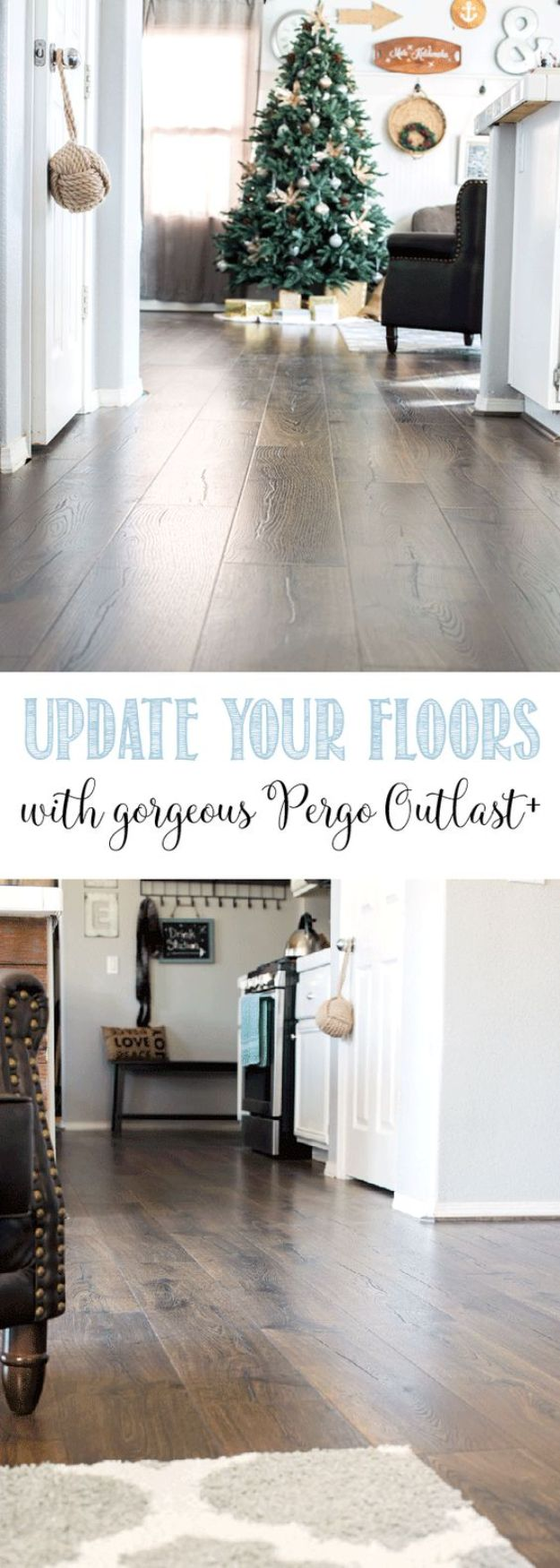 DIY Flooring Projects - Update Your Floors With Gorgeous Pergo Outlast - Cheap Floor Ideas for Those On A Budget - Inexpensive Ways To Refinish Floors With Concrete, Laminate, Plywood, Peel and Stick Tile, Wood, Vinyl - Easy Project Plans and Unique Creative Tutorials for Cool Do It Yourself Home Decor #diy #flooring #homeimprovement